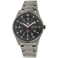 Seiko Men's 5 Automatic  Black Stainless-Steel Plated Fashion Watch