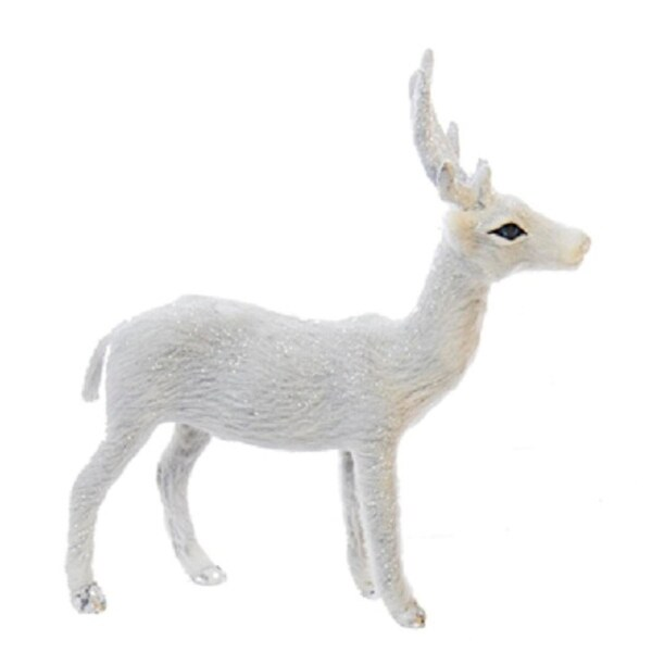 Frosted Kingdom Plush White Standing Deer Christmas Table Top Figurines 6''