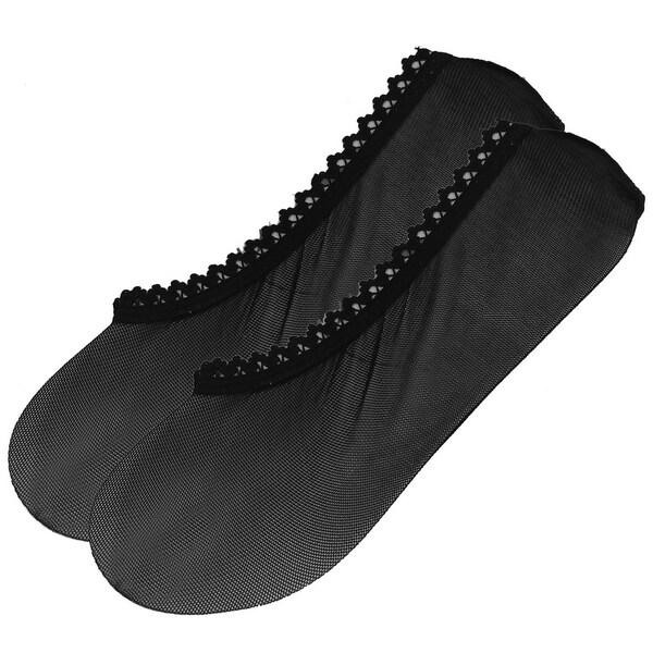 Unique Bargains Black Invisible Hollow Out Design Lace Boat Socks Pair for Women