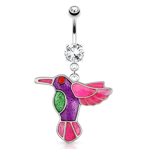 Hummingbird w/ Multi Color Plating and Red CZ Eye Dangle Surgical Steel  Navel Ring (Sold Ind )