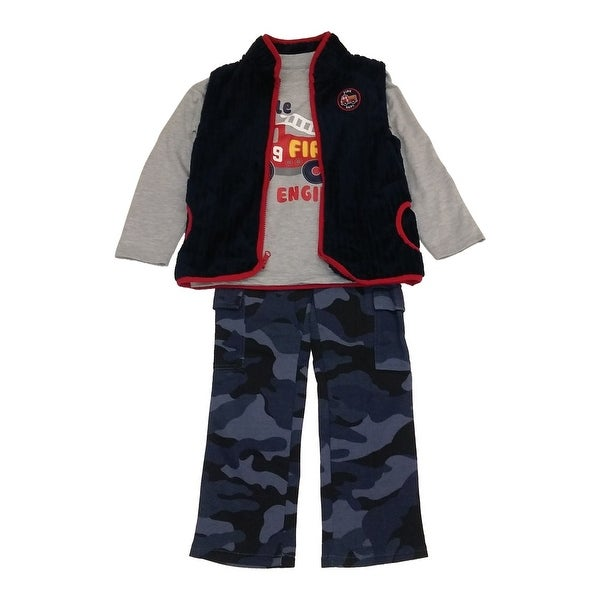 Baby Boys Grey Fire Engine Top Vest Navy Camouflage Fleece 3 Pc Pant Set 12-24M
