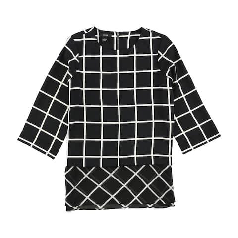 Alfani Womens Geometric Pullover Blouse, black, 4