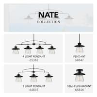 Globe Electric 65382 4 Light Pendant with Clear Glass Shade - Oil Rubbed bronze