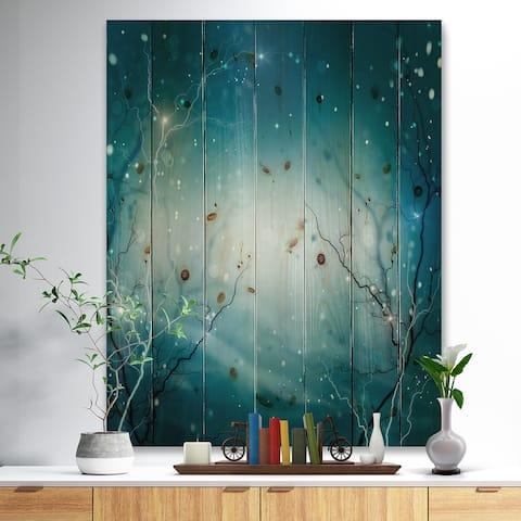 Designart 'Blue Winter Fantasy Forest' Landscape Photo Print on Natural Pine Wood - Blue