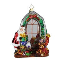 "7.5"" Christopher Radko ""Jolly Inside and Out"" Glittered Glass Christmas Tree Ornament #1019070 - RED"