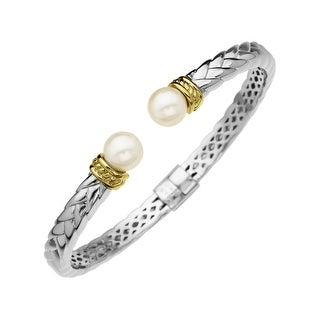 8 mm Pearl Bangle Bracelet in Sterling Silver and 14K Gold