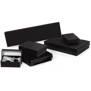 Pack Of 42, Black Embossed Jewelry Boxes Assortment (6) #6, (12) #14, (12) #18, (6) #43, (6) #80 For Jewelry / Small Gifts