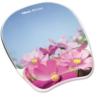 """Fellowes Inc. 9179001 Fellowes Photo Gel Mouse Pad Wrist Rest with Microban Protection - Pink Flower - 0.9"""" x 9.3"""" x"""