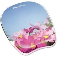 """""""Fellowes Inc. 9179001 Fellowes Photo Gel Mouse Pad Wrist Rest with Microban Protection - Pink Flower - 0.9"""" x 9.3"""" x"""