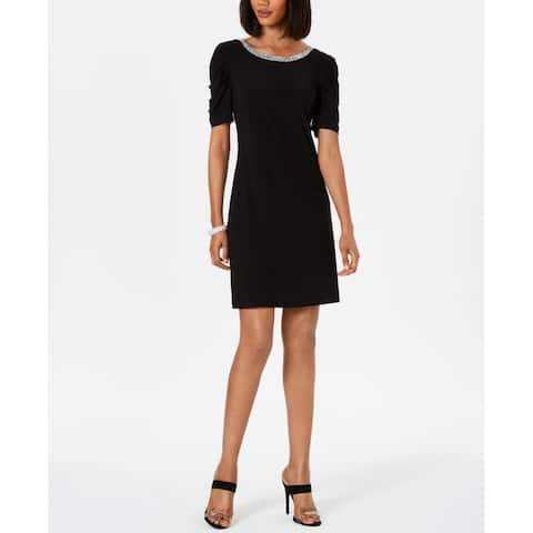 MSK Womens Jersey Embellished Neckline Black Size Small S Sheath Dress