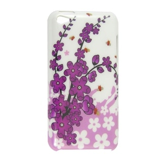 Plastic Foral Print Back Case Guard White for iPod Touch 4