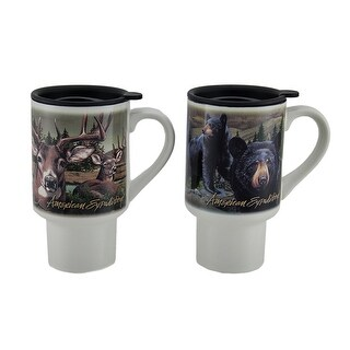 American Expedition 2 Piece Bear & Deer Ceramic Travel Mug Set w/Lid