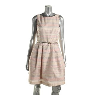 Jessica Howard Womens Petites Cocktail Dress Fit & Flare Striped - 10P