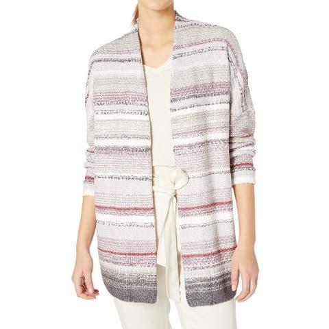 NIC+ZOE Womens Sweater Purple Gray Large L Chenille Striped Cardigan