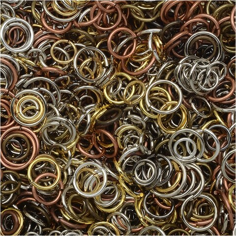 Open Jump Rings, Assorted Size 4-10mm Mix, 50-80 Pieces 7.5 Grams, Multi-Colored