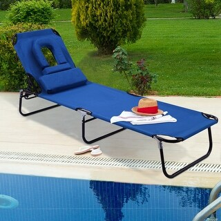 Costway Patio Foldable Chaise Lounge Chair Bed Outdoor Beach Camping Recliner Pool Yard - Blue