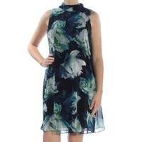 VINCE CAMUTO Womens Navy Floral Sleeveless Turtle Neck Knee Length Shift Cocktail Dress  Size: 10