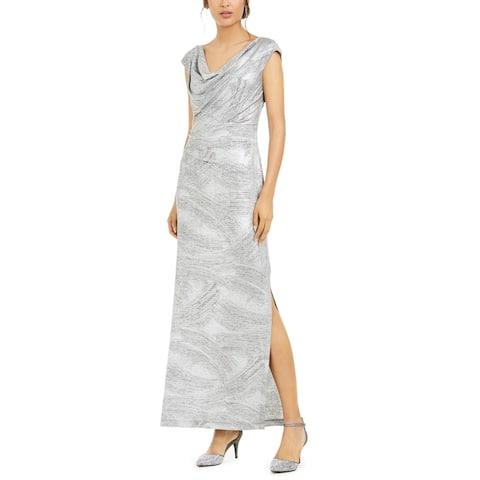 Connected Apparel Women's Dress Silver Size 14 Metallic Drape Neck Gown