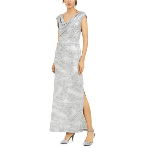 Connected Apparel Women's Dress Silver Size 16 Gown Cowl-Neck Shimmer