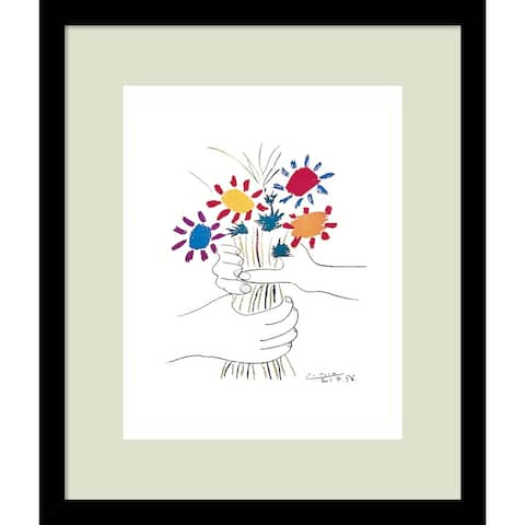 Framed Art Print 'Fleurs' by Pablo Picasso - Outer Size 13 x 15-inch