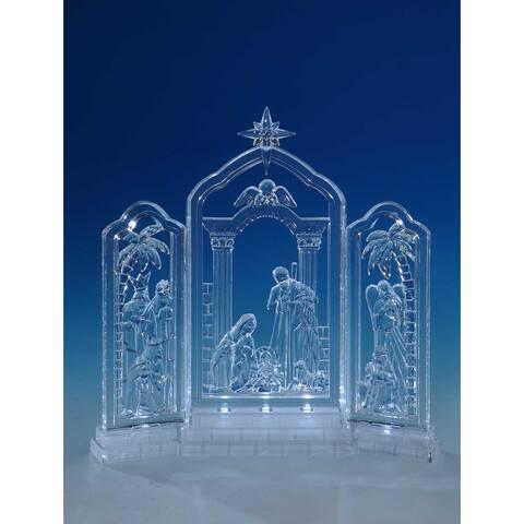 "Set of 2 Clear Nativity Frieze LED Tabletop Decors 10"""