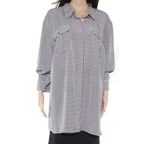 Lauren by Ralph Lauren Womens Blouse Black Size 3X Plus Houndstooth