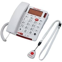 First Alert JENSFA3800W Big Button Corded Telephone with Emergency Key And Remote Pendant