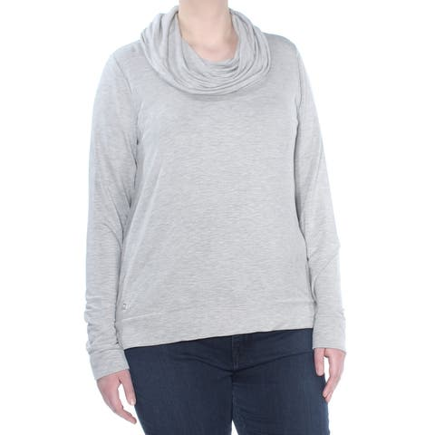 RALPH LAUREN Womens Gray Heather Long Sleeve Cowl Neck Top Size: XL