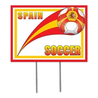 """Pack of 6 Red, Yellow and White """"Spain"""" Soccer Themed Yard Signs 16"""""""