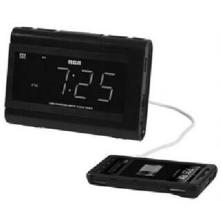 RCA RC142 USB Charging Clock Radio with Dual Wake, Large LCD, Black