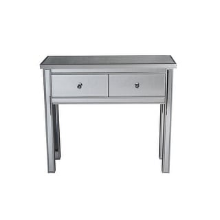 "15"" Silver Mirrored Console Table with 2 Drawers"