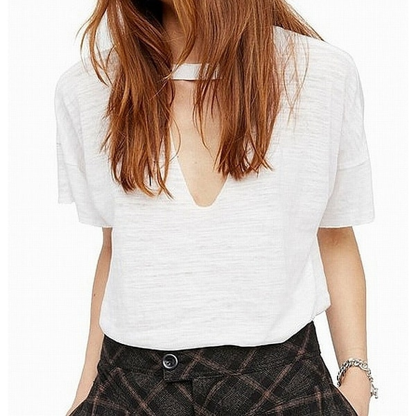 7d1ab3ee0ad Shop Free People White Jordan Burnout Tee Women's Size Large L Knit Top - Free  Shipping On Orders Over $45 - Overstock - 28158228