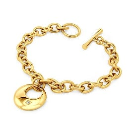 Gold Plated Stainless Steel Crescent Moon CZ Bracelet - 7.5 inches
