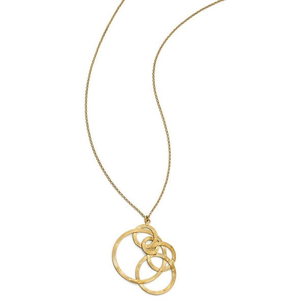 Italian Sterling Silver Gold-tone Textured Circle Necklace - 31.5 inches