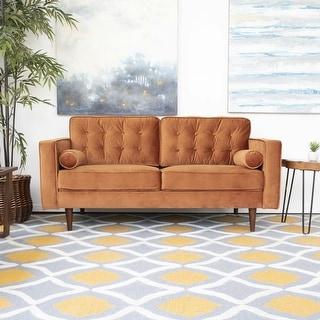 """Link to Mid Century Modern Harriet Burnt Orange Velvet Loveseat - 32""""H x 65""""W x 35""""D Similar Items in Living Room Furniture"""