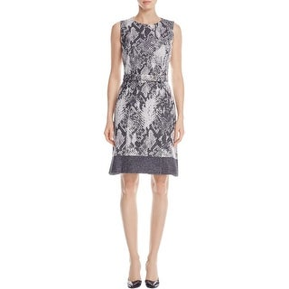 Hugo Boss Womens Daneki Special Occasion Dress Snake Print Twill