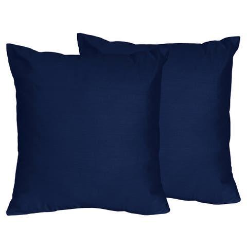 Sweet Jojo Designs Navy Blue Decorative Accent Throw Pillow (Set of 2)
