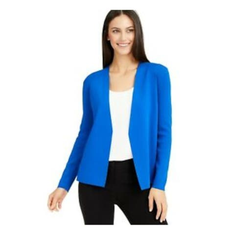 ALFANI Womens Blue Solid Long Sleeve Open Cardigan Sweater Size L