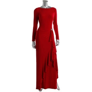 Ralph Lauren Womens Embellished Long Sleeves Evening Dress
