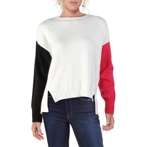 DKNY Womens Sweater Colorblock Crewneck - Ivory