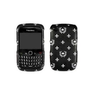 BlackBerry Curve 8530 Snap On Case - Black with Floral Design (Bulk Packaging)