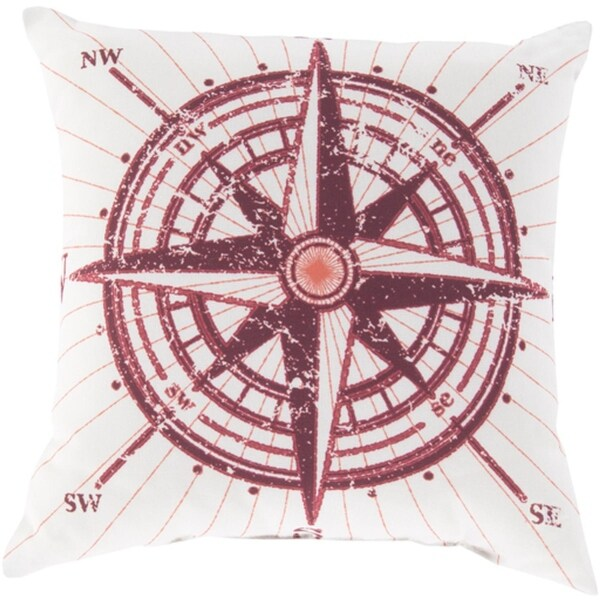 """18"""" Nautical Compass Crimson Red and Pale Blue Throw Pillow Shell"""