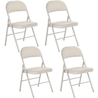 Costway Set of 4 Folding Chairs Steel PU Portable Home Garden Office Furniture Beige