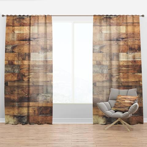 Designart 'Brown Wood Texture' Modern Curtain Panel