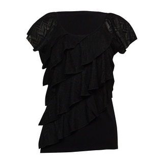 NY Collection Women's Tiered Knit Jersey Top - Black - S