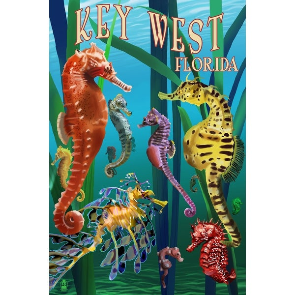 Key West, FL - Seahorses - LP Artwork (100% Cotton Towel Absorbent)