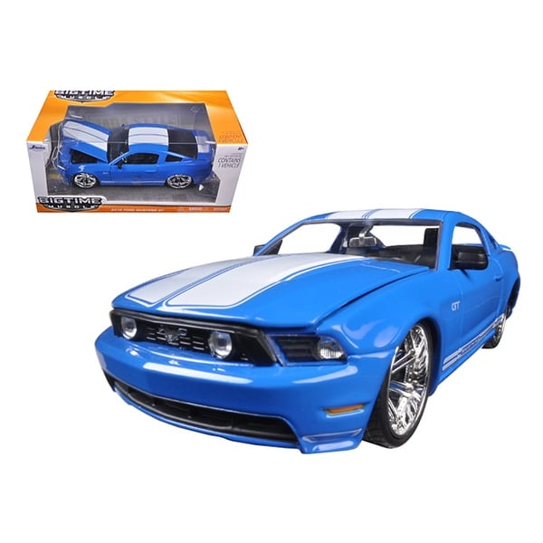 Ford Mustang Gt Blue With White Stripes  Cast Model Car By Jada