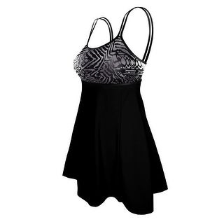 Double Strap Lingerie Swimdress in a Grey Tribal and Solid Black Combo