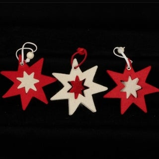 """Club Pack of 36 Inside And Out 7 Star Red And Ivory """"Felt Ornaments"""""""