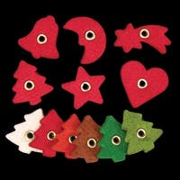 """Club Pack 288 Pieces Felt Red Tree, Bell, Star, Moon, Heart, Shooting Star 1"""""""